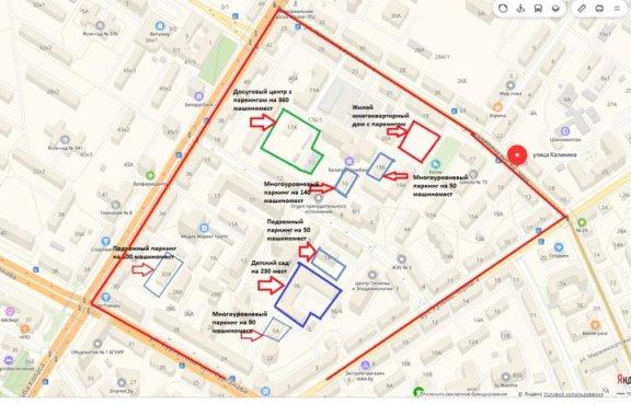 Карта уплотнения в районе метро «Академия наук»