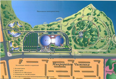 План схема размещения спорткомплекса Чижовка-арена в Минске.